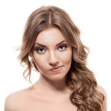 Lovely confused woman on white background. Lovely confused woman against white background Royalty Free Stock Photos