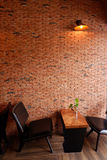 Lovely corner and Beautiful interior in coffee shop. Lovely corner and Beautiful brick wall in coffee shop, Chiang mai, Thailand stock image