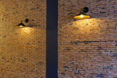 Lovely corner and Beautiful interior in coffee shop. Lovely corner and Beautiful brick wall in coffee shop, Chiang mai, Thailand stock photos