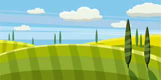 Lovely country rural landscape, pasture, Cartoon style, vector illustration. Lovely country rural landscape, cow grazing, farm, flowers, pasture, Cartoon style Stock Photo