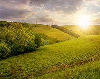 Lovely countryside with grassy hills at sunset. Beautiful nature of Carpathian mountains in springtime Stock Photo