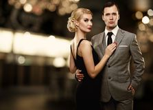 Lovely couple on abstract background stock images