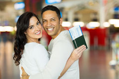 Lovely couple airport Stock Image