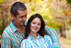 Lovely couple in autumn park Stock Images