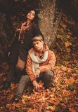 Lovely couple in autumn park Royalty Free Stock Photo