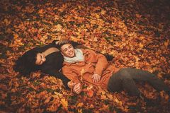 Lovely couple in autumn park Royalty Free Stock Photography