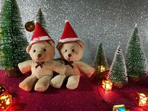 Lovely couple bear and christmas tree on pink gliter background near ornament lighting bulb at silent night, holy night, Merry Chr stock image