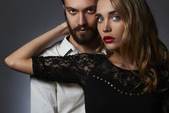 Lovely couple. Beautiful woman touch the man.beauty girl and boy together Stock Images