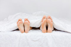 Lovely couple in bed. Close up of four feet in a bed Stock Images