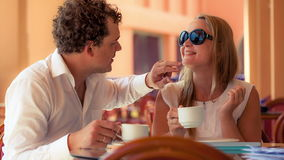 Lovely couple in a cafe Stock Photos