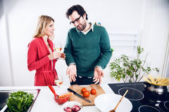Lovely couple cooking together Stock Photo