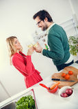 Lovely couple cooking together Royalty Free Stock Photo