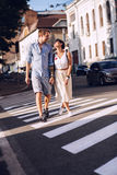 Lovely couple dating in city. At sunny day Royalty Free Stock Images