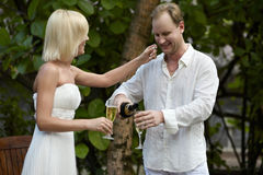 Lovely couple drinking champagne after wedding ceremony. Stock Images