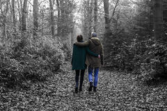 Lovely couple in the forest stock photos