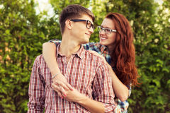 Lovely couple in glasses Royalty Free Stock Image