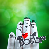 Lovely couple hand drawn and finger,doctor Stock Photos