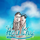 Lovely couple hand drawn and finger,doctor Royalty Free Stock Images