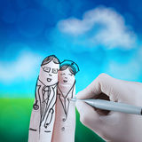 Lovely couple hand drawn and finger,doctor Royalty Free Stock Image