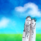 Lovely couple hand drawn and finger,doctor and nurse Stock Photography