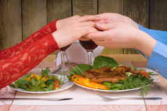 Lovely couple having romantic dinner Stock Photo