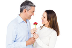 Lovely couple holding flower. On white background Royalty Free Stock Photo