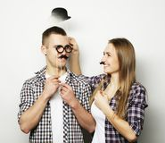 Lovely couple holding party glasses Royalty Free Stock Photos