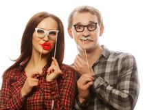 Lovely couple holding party glasses Stock Image