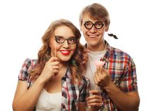 Lovely couple holding party glasses Royalty Free Stock Image