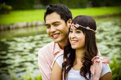 Lovely couple hug in the garden2 Stock Photography