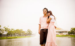 Lovely couple hug in the park1 Royalty Free Stock Photo