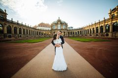 Lovely couple hugging in gorode. Europe. royalty free stock images