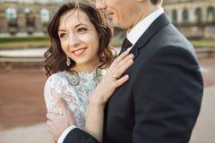 Lovely couple hugging in gorode. Europe. Lovely couple hugging in gorode. Europe stock image