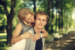 Lovely couple hugging in summer park Royalty Free Stock Images