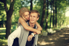 Lovely couple hugging in summer park Royalty Free Stock Photography