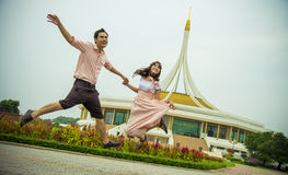 Lovely couple jump up together1 Royalty Free Stock Photo