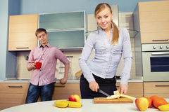 Lovely couple on kitchen Stock Photography