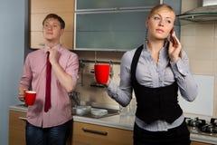 Lovely couple on kitchen Stock Photo