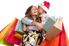 Lovely Couple Making Christmas Shopping Royalty Free Stock Images