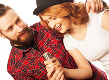 Lovely couple with microphone Stock Photo
