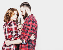 Lovely couple with microphone Stock Image