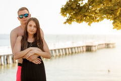 Lovely couple near beach during summertime Royalty Free Stock Photography