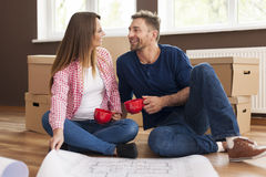 Lovely couple in new home Stock Photography