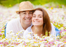 Lovely couple outdoors Royalty Free Stock Image