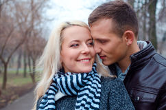 Lovely couple in the park. Close up shot Stock Photo
