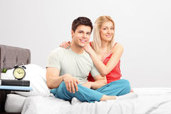 A lovely couple in pijamas Stock Photos
