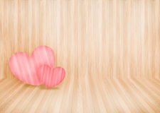 Lovely couple pink heart on wood wall background and copyspace Royalty Free Stock Photo
