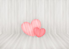 Lovely couple pink heart on wood wall background and copyspace Royalty Free Stock Photography