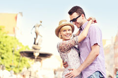 Lovely couple posing in the Old Town Royalty Free Stock Photography