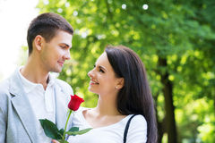 Lovely couple on a romantic date in a park Stock Image